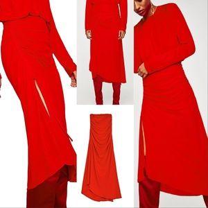 Zara Red Gathered Sides Skirt Sz Md NWT